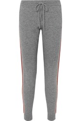 Chinti And Parker Ringmaster Striped Cashmere Wool Blend Track Pants Gray
