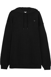 Acne Studios Yala Face Oversized Embroidered Cotton Jersey Hooded Top Black