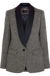 J.Crew Collection Satin Trimmed Wool Tweed Blazer Gray