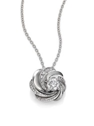 De Beers Aria Diamond And 18K White Gold Pendant Necklace