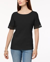 Karen Scott Cotton Lace Trim T Shirt Created For Macy's Deep Black