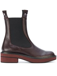 Paloma Barcelo Chelsea Boots Leather Rubber Red