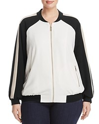 Vince Camuto Plus Color Block Bomber Jacket New Ivory