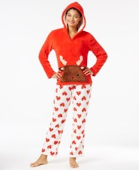 Pj Couture Plush Hooded Critter Pajama Set Red Reindeer