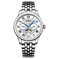 Rotary Gb05065 01 Men's Moonphase Day Date Bracelet Strap Watch Silver