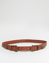 Pieces Double Western Belt With Antique Gold In Tan Tan