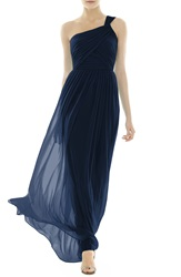 Alfred Sung One Shoulder Shirred Chiffon Gown Midnight