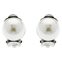 Finesse Classic 12Mm Pearl Clip On Earrings White
