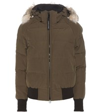Canada Goose Savona Down Bomber Jacket With Fur Green