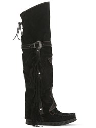 El Vaquero 70Mm Coleen Suede Over The Knee Boots Black
