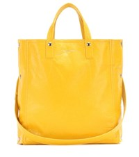 Balenciaga Papier Snap Simple Leather Tote Yellow