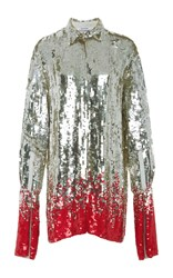 Au Jour Le Jour Long Sleeve Sequin Blouse Silver