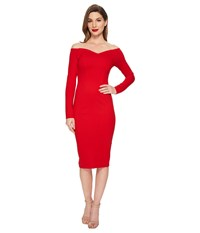 Unique Vintage Long Sleeved Cape Cod Wiggle Dress Red Women's Dress