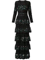 Costarellos Sequin Embroidery Tiered Gown Black