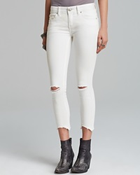 Free People Jeans Skinny Destroyed Ankle In White Hong Kong White