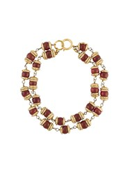 Chanel Vintage Filigree Gripoix Choker Red