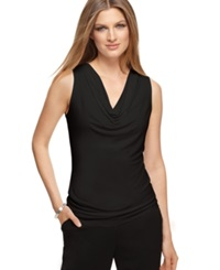 Calvin Klein Sleeveless Cowl Neck Top Black