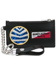 Saint Laurent Paris Fragments Multi Patch Keyring Zip Pouch Black