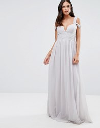 Forever Unique Plunge Neckline Maxi Dress With Cut Out Shoulder Grey
