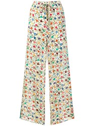 Red Valentino Flared Printed Trousers Nude And Neutrals