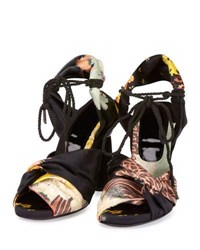 Dries Van Noten Floral Fabric 100Mm Round Heel Sandal Black