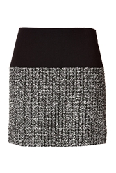 Bouchra Jarrar Wool Cotton Skirt With Tweed Panel