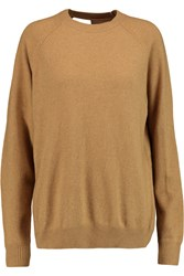 Alexander Wang Mesh Paneled Wool Blend Sweater Brown