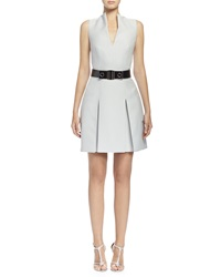 Alexander Mcqueen Box Pleated Fit And Flare Dress Silver Blue