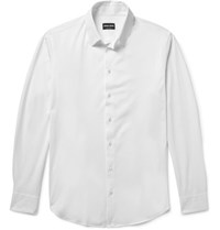 Giorgio Armani Slim Fit Cotton Jersey Shirt White