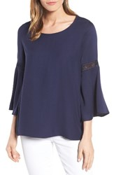 Pleione Women's Lace Inset Bell Sleeve Blouse Navy