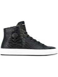 Philipp Plein Hi Top Sneakers Men Leather Rubber 39 Black