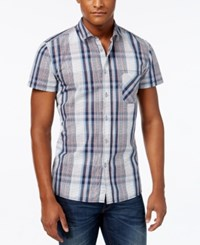 Hugo Boss Orange Men's Ezippoe Plaid Short Sleeve Shirt Dark Blue