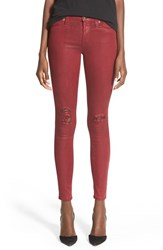Women's Hudson Jeans Coated Super Skinny Jeans Crimson Wax Destructed