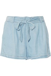Splendid Belted Tencel Chambray Shorts Light Blue