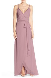 Ceremony By Joanna August Women's 'Parker' Twist Strap Chiffon Wrap Gown Witchcraft