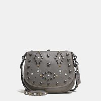 Coach Western Rivets Saddle Bag 23 In Glovetanned Leather Bp Heather Grey