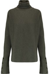 Tibi Merino Wool Turtleneck Sweater Army Green