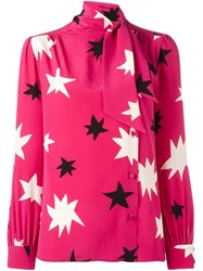 Saint Laurent Star Print Pussy Bow Blouse Pink Purple