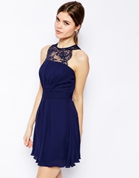 Elise Ryan Skater Dress With Scallop Lace Trim Navy