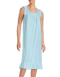 Miss Elaine Paisley Print Cotton Long Nightgown Turquoise