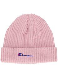 Champion Ribbed Knit Cap Pink And Purple