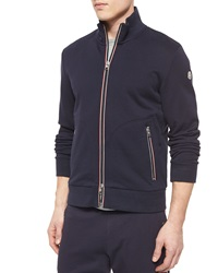 Moncler Full Zip Cotton Track Jacket Navy