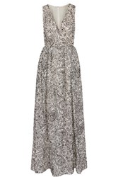 Tory Burch Embroidered Silk Organza Gown Ivory