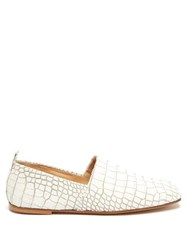 Emme Parsons Crocodile Embossed Leather Loafers White