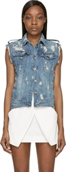 Balmain Blue Denim Distressed Vest