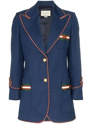 Gucci Contrast Piping Blazer Blue
