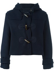 Jil Sander Navy Hooded Duffle Jacket Blue