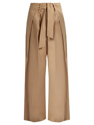 Sea Tie Front Wide Leg Cotton Trousers Beige
