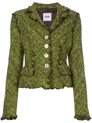 Moschino Vintage Boucle Knit Jacket Green