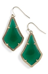 Women's Kendra Scott 'Alex' Teardrop Earrings Green Gold